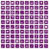 100 karaoke icons set grunge purple. 100 karaoke icons set in grunge style purple color isolated on white background vector illustration Stock Photo