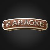 Karaoke iluminado do sinal no fundo preto fotos de stock