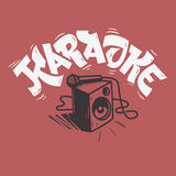 Karaoke Lettering Music Design With A Speaker And A Microphone  Stock Images