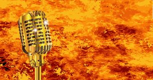 Karaoke Microphone On Fire. A microphone with a flame background Stock Image
