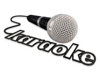 Karaoke Microphone Singing Fun Entertainment Event. Karaoke word in a microphone cord to advertise or illustrate a fun event with singing Royalty Free Stock Photos