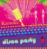 Karaoke night, abstract illustration of a microphone and dancers Royalty Free Stock Photography
