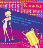 Karaoke night, abstract illustration with microphone and singer Stock Photo