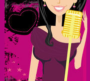 Karaoke night, abstract illustration with microphone and singer Stock Photos