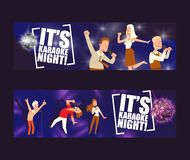 It is karaoke night in bar set of banners vector illustration. People singing and dancing in karaoke. Women and men. Having fun, performing with microphone royalty free illustration