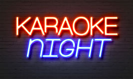 Karaoke Night Neon Sign On Brick Wall Background. Stock Photos