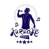 Karaoke night and nightclub discotheque vector invitation poster created with musical notes, stars and soloist singing and holding. A microphone in hand royalty free illustration