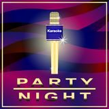 Karaoke, nightparty, Golden microphone on abstract background, banner, poster. Vector Illustration Royalty Free Stock Photos