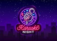 Karaoke nocy wektor Neonowy znak, świecący logo, symbol, lekki sztandar Reklamowy jaskrawy nocy karaoke bar, przyjęcie, dyskoteka ilustracji