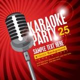 Karaoke parties. Banner with microphone for karaoke parties