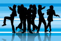 Karaoke party on blue. Silhouette of a group friends having fun singing together on blue background Royalty Free Stock Photography