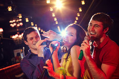 Karaoke party in club Stock Photography