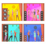 Karaoke Party Compositions Set. Set of four flat karaoke party compositions with group of singing friends characters in club interior vector illustration Royalty Free Stock Photo