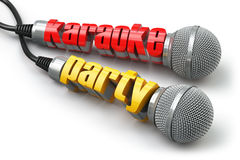 Karaoke party concept. Two microphones with text. Royalty Free Stock Photos