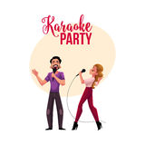 Karaoke party, contest banner, poster, postcard design with singer couple Royalty Free Stock Images