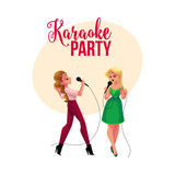 Karaoke party, contest banner, poster with two girls singing together Stock Photos