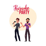 Karaoke party, contest banner, poster with two men singing together Stock Photo