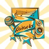 Karaoke party design. Music event background. Illustration with microphone and acoustics in retro style.  Stock Photos