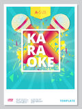 Karaoke party flyer or poster template design. Vector music even Royalty Free Stock Photo