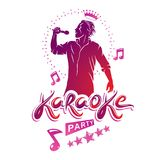 Karaoke party flyers vector cover design created using musical n Stock Photo