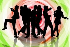 Karaoke party with friend. Silhouette of a group friends having fun singing together on colourfull background Stock Photo