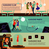 Karaoke Party Horizontal Banners Royalty Free Stock Photos