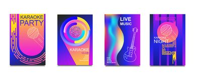 Karaoke party invitation flyer template. Concept for a night club.Design template.Advertising bright karaoke bar, party, disco bar. Live music.Ticket Neon stock illustration