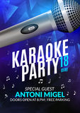 Karaoke party invitation poster design template. Karaoke night flyer design. Music voice concert Stock Images