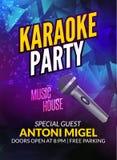 Karaoke party invitation poster design template. Karaoke night flyer design. Music voice concert stock illustration