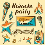Karaoke party items. Music event set of objects. Illustration in retro style.  Stock Image