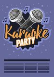 Karaoke Party Music Poster Design With Microphones. royalty free illustration