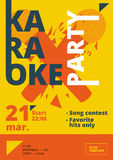 Karaoke party poster or flyer template in A4 size. Song contest pre-made layout. Music night club event banner or promotional mate Royalty Free Stock Image