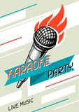 Karaoke party poster. Music event banner. Illustration with microphone in retro style.  Royalty Free Stock Images
