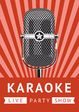 Karaoke party poster. Karaoke party vintage poster with a microphone. Design template Royalty Free Stock Photo