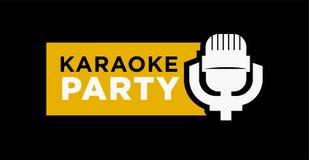 Karaoke party promotional emblem with microphone isolated illustration. Karaoke party promotional emblem with old-fashioned microphone isolated vector Royalty Free Stock Photo