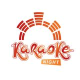 Karaoke party vector writing composed with mute symbol, leisure. And relaxation lifestyle emblem for nightclub party invitation poster Royalty Free Stock Photo