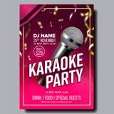 Karaoke Poster Vector. Club Background. Mic Design. Karaoke Disco Banner. Voice Equipment. Sing Song. Dance Event stock illustration