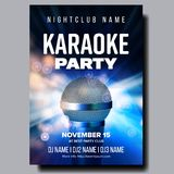 Karaoke Poster Vector. Colorful Instrument. Technology Symbol. Karaoke Party Flyer. Music Night. Radio Microphone. Retro royalty free illustration