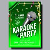 Karaoke Poster Vector. Retro Concert. Karaoke Club Background. Mic Design. Creative Layout. Audio Element. Speaker Label. Karaoke Poster Vector. Club Background vector illustration