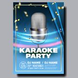 Karaoke Poster Vector. Retro Concert. Karaoke Club Background. Mic Design. Creative Layout. Audio Element. Speaker Label. Karaoke Poster Vector. Club Background stock illustration