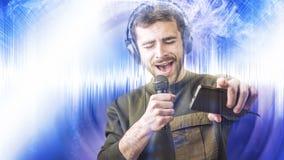 Karaoke que canta y que baila adelante, cartel abstracto foto de archivo