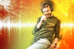 Karaoke que canta y que baila adelante, cartel abstracto fotos de archivo libres de regalías