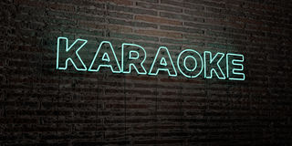 KARAOKE -Realistic Neon Sign on Brick Wall background - 3D rendered royalty free stock image Royalty Free Stock Photo