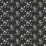 Karaoke seamless pattern. Microphone and notes icon. Party celebration decor elements. Vector illustration. Background. Black and. White graphic texture for Royalty Free Stock Photography