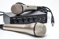 Karaoke set. Karaoke mini set with 2 microphones Royalty Free Stock Photos