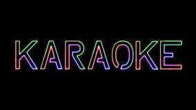 Karaoke - seven colors neon text, moving lights, on transparent background
