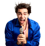 Karaoke signer. Happy karaoke signer. Isolated over white background Stock Photography