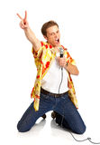 Karaoke signer. Happy karaoke signer. Isolated over white background Stock Images