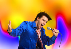 Karaoke signer. Happy karaoke signer. Over abstract  background Royalty Free Stock Photography