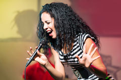 Karaoke singer. Image of an emotional karaoke singer performing in the club Stock Images